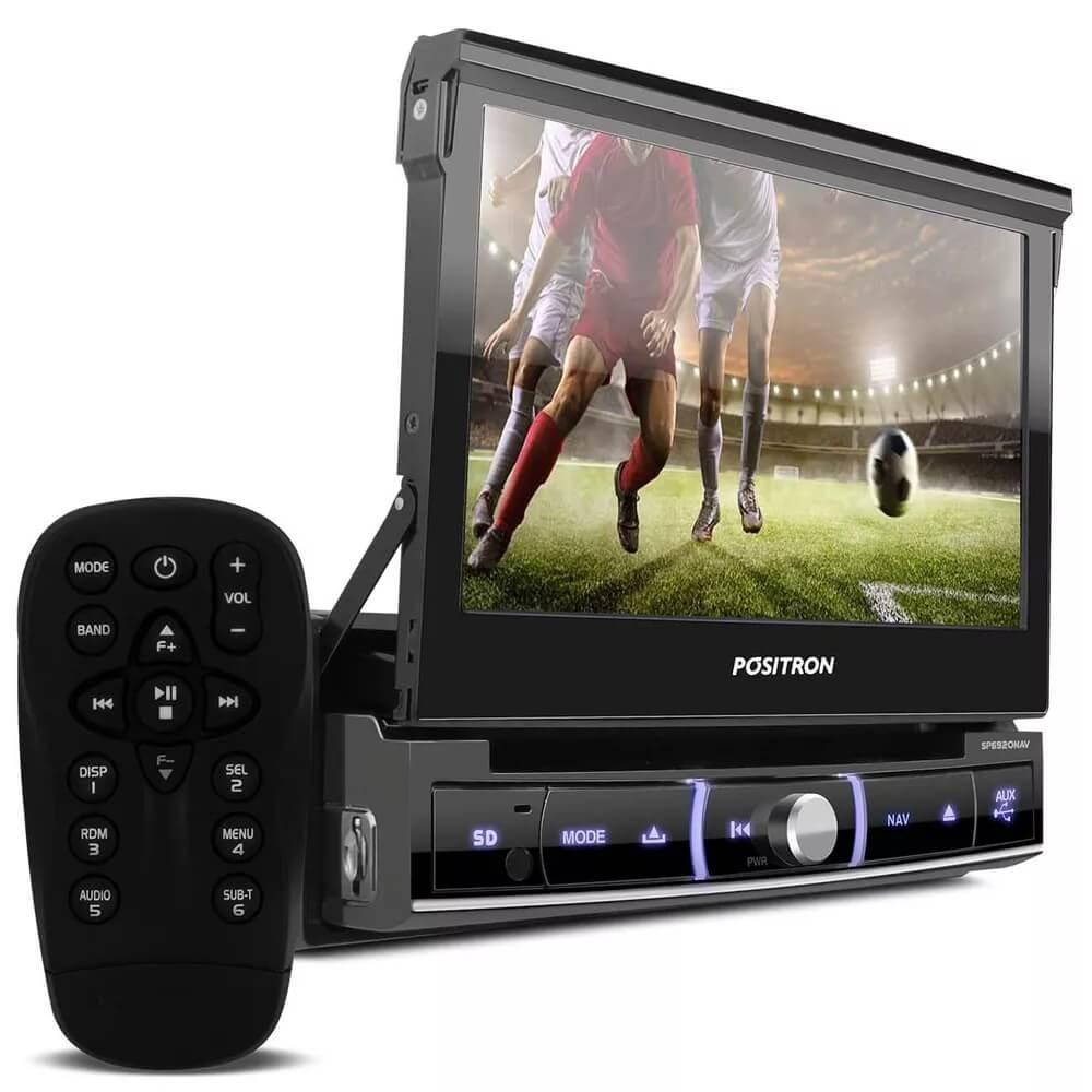 DVD POSITRON SP6920NAV RETRATIL TELA 7 GPS MIRROR CONECT BLUETOOTH TV USB SD ENTR P2 CD DVD MP3 AMFM