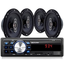 KIT SOM AUTOMOTIVO MP3 MULTILASER ONE + 4 ALTO FALANTES DE 6 QUADRIXIAIS 60W RMS AU953