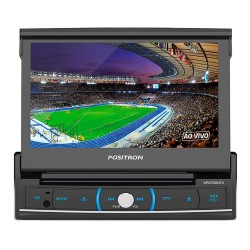 DVD POSITRON SP6720DTV RETRATIL TELA 7 BLUETOOTH TV ENTRADA USB SD AUXIL P2 CD DVD MP3 AM FM